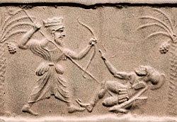 Achaemenid king killing a Greek hoplite.jpg