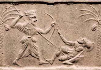 Xerxes I - Achaemenid king killing a Greek hoplite. Impression from a cylinder seal, sculpted circa 500 BC–475 BC, at the time of Xerxes I. Metropolitan Museum of Art.