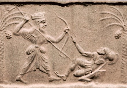 Achaemenid king killing a Greek hoplite. Circa 500 BC-475 BC, at the time of Xerxes I. Metropolitan Museum of Art. Achaemenid king killing a Greek hoplite.jpg