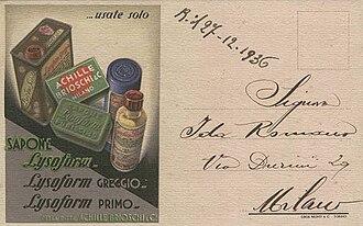 Brioschi (company) - Postcard advertising Achille Brioschi Lysoform soaps