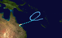 Image of the northern Oceania region showing the track of the cyclone as a series of connected dots, which begins in the far eastern Coral Sea, completes a clockwise loop, and ends just beyond the coast of northeastern Australia.