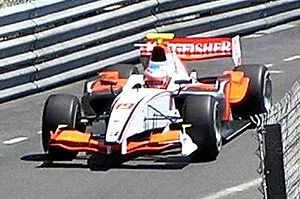 Adam Carroll - Carroll driving for FMS International at the Monaco round of the 2008 GP2 Series season.