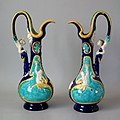 Adams and Bromley Ewers, coloured glazes, c. 1880, Renaissance in style.jpg