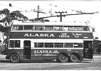 Trolleybuses in Adelaide - Adelaide trolleybus no. 431, 1953.