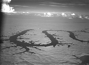 "Lake of the Ozarks - 1945 aerial of Lake of the Ozarks, the ""Missouri Dragon"""