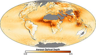 Global Energy and Water Cycle Experiment - Aerosol map from 2006 showing increased aerosols, likely fires, in developing countries