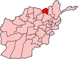 The location o Kunduz Province athin Afghanistan