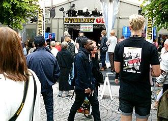 Aftonbladet - Newspaper Aftonbladet's Booth during Almedalen week 2014, Visby, Gotland, Sweden.