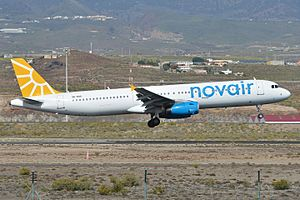 Novair - A Novair Airbus A321 at Tenerife South Airport.
