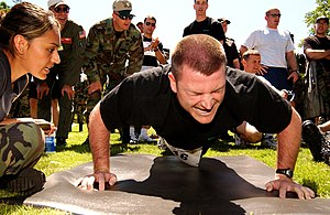 United States Air Force Fitness Assessment - Airman executing a push-up