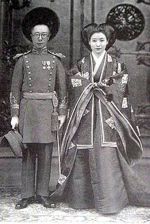 Aisin-Gioro Pǔjié and Lady Hiro Saga 1937 wedding photo.jpg