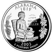 Alabama's quarter depicting famous resident Helen Keller along with the longleaf pine branch and Camellia blossoms from the 50 State Quarters program. Released March 19, 2003.