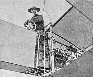 Alberto Santos Dumont onboard his aircraft.
