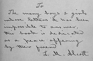 Hand written dedication by Louisa May Alcott f...
