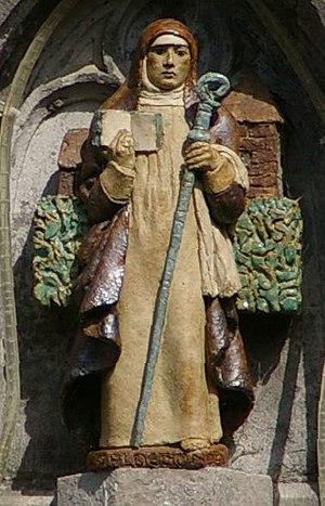Aldegonde - A statue of Saint Aldegonde on the church of Noirchain (Frameries), Hainaut, Belgium