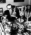 Aleksander Rybicki and collection of Hutsuls ceramic.JPG