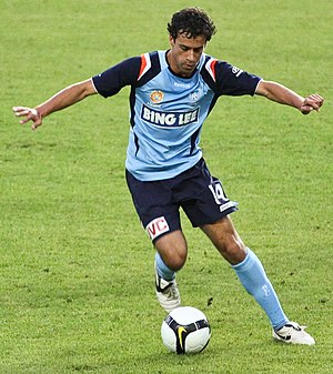 Bing Lee - Alex Brosque during the 08/09 season jersey showing Bing Lee sponsorship