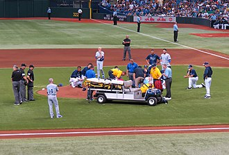 Alex Cobb - Cobb being lifted onto a stretcher after being struck by a line drive, June 15, 2013.