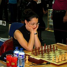 Alexandra at the 35th Chess Olympiad, Bled 2002.