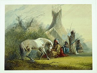 Indigenous peoples of the Great Basin - Shoshone Indian and his horse