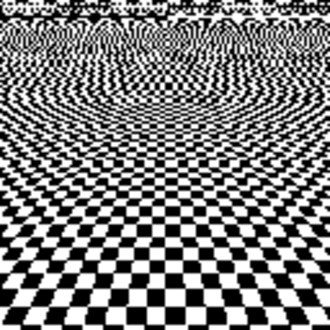 Spatial anti-aliasing - An aliased picture of a checker-board from an angle looks random in the distance, and has jagged lines in the foreground.