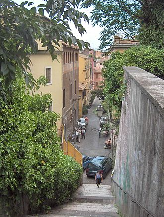 Trastevere - A typical narrow alley in Trastevere seen from the lower slopes of the Gianicolo hill