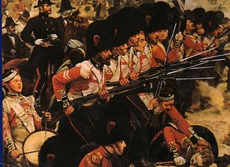 Soldats del regiment Coldstream Guards al riu Alma, de RCWoodville