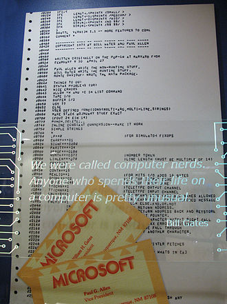 Paul Allen - The title page of the assembly language code that produced the Altair BASIC, developed by Allen, Bill Gates and Monte Davidoff