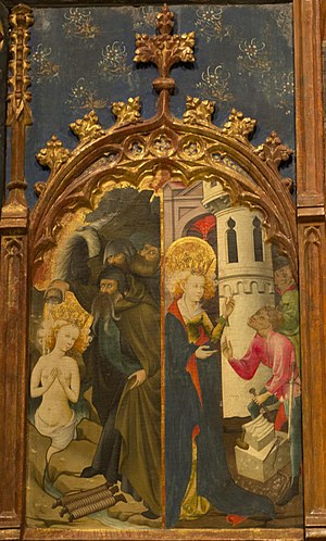 Altarpiece of Saint Barbara - Upper left panel: Saint Barbara is baptized and the representation of the Holy Trinity