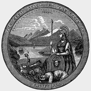"Eureka (word) - The Seal of California, featuring the word ""EUREKA"" above the spear of the goddess Minerva, from 1870"