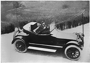 Alfred H. Grebe - With self-built car radio, 1919