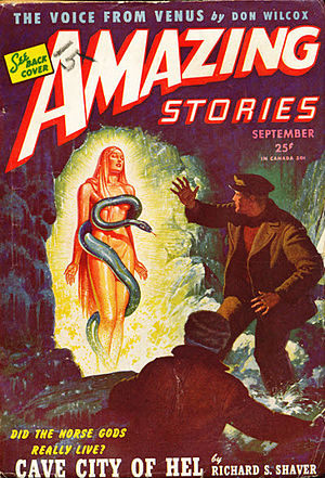 "Richard Sharpe Shaver - Shaver's run of Amazing cover stories continued in September 1945 with ""Cave City of Hel"""
