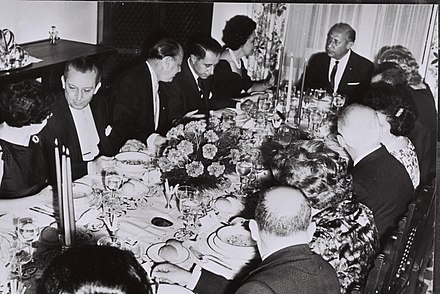 Dinner hosted by Israeli Ambassador to Guatemala Joshua Shai, in honor of President of Guatemala Enrique Peralta Azurdia, at his residence in Guatemala, 1964. Ambassador of Israel to Guatemala Joshua N Shai 1964.jpg