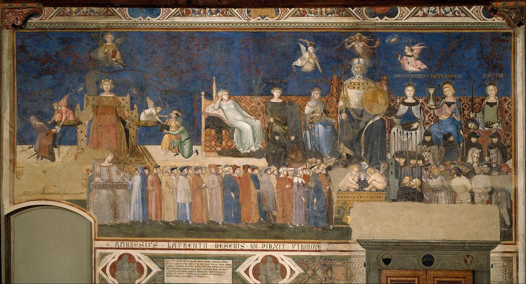 Ambrogio Lorenzetti, Allegoria del Buon Governo, 1338-1339, Sala della Pace, Palazzo Pubblico, Siena