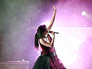 Evanescence performing at a concert in Brazil in 2007.