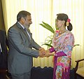 Anand Sharma meeting the Chairperson, National League for Democracy, Myanmar, Daw Aung San Suu Kyi, on the sidelines of World Economic Forum on East Asia, at Nay Pyi Taw Myanmar on June 06, 2013.jpg