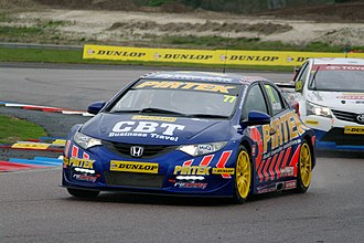 Next Generation Touring Car - Pirtek Racing's NGTC Honda Civic at Thruxton, with a Speedworks Motorsport Toyota Avensis behind.
