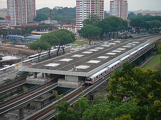 Ang Mo Kio MRT station - Top view of the station, which has 3 tracks passing through it.