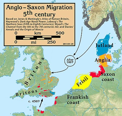 The migrations according to Bede, who wrote some 300 years after the event; there is archeological evidence that the settlers in England came from many of these continental locations Anglo.Saxon.migration.5th.cen.jpg