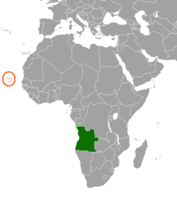 Map indicating locations of Angola and Cap Verd