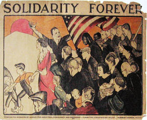 League for Industrial Democracy - 1932 poster for League for Industrial Democracy, designed by Anita Willcox during the Great Depression, showing solidarity with struggles of workers and poor in America