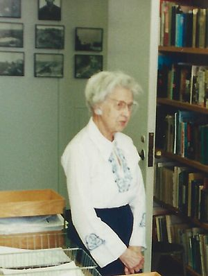 Annette Baker Fox - Annette Baker Fox in the offices of Columbia University's Institute of War and Peace Studies, 1995