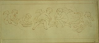 Putti pressing grapes