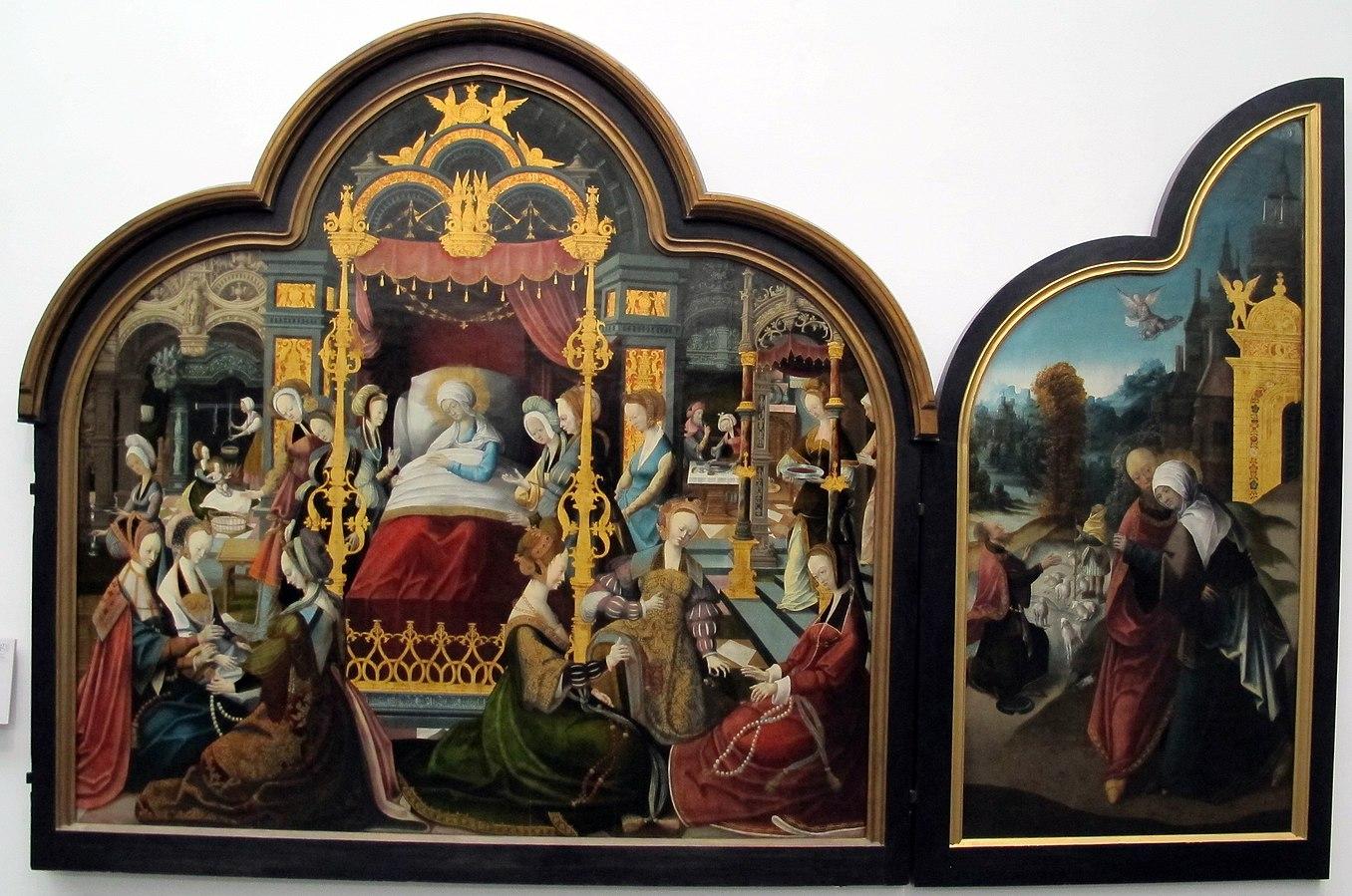 Triptyque: centre. LA naissance de la Sainte Vierge.