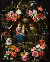Madonna and Child with Saint Anne in the garland of flowers