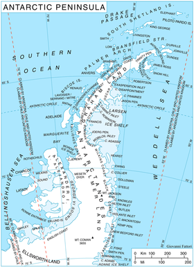 Carte de la péninsule Antarctique.