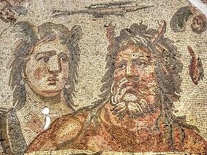 Tethys (mythology) - Mosaic (detail) of Tethys and Oceanus, excavated from the House of Menander, Daphne (modern Harbiye, Turkey), third century AD, Hatay Archaeology Museum 1013.