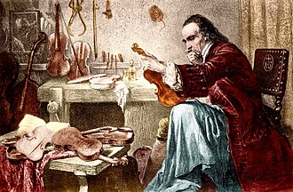 Music of Lombardy - Antonio Stradivari examining an instrument in an ancient print.