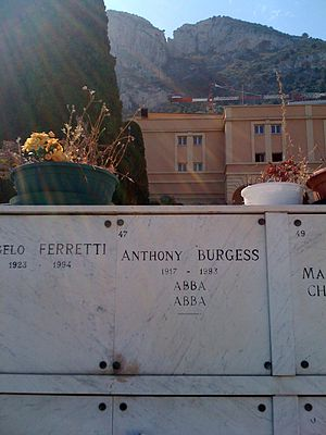 Anthony Burgess - Burgess's grave marker at the Columbarium in Monaco's cemetery.