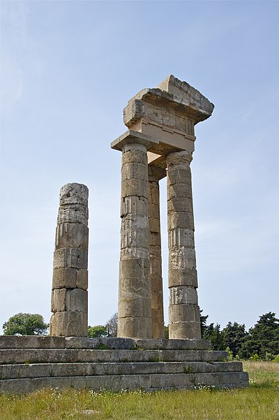 Temple of Apollo at the Acropolis of Rhodes Apollon temple acropolis Rhodes.jpg